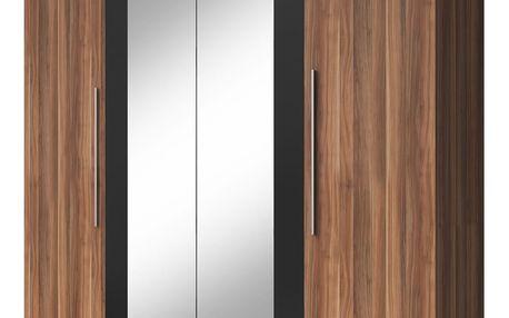 VIERA skříň se zrcadlem, červený ořech/černá