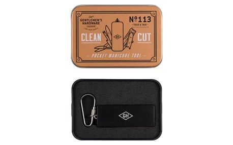 GENTLEMEN'S HARDWARE Přívěšek na klíče kapesní manikúra Clean Cut, černá barva, měděná barva, stříbrná barva, kov, textil
