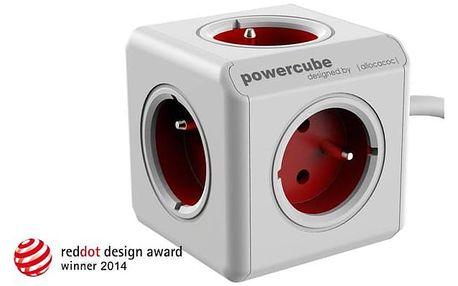 Powercube Extended, 5x zásuvka, 1,5m bílý/červený