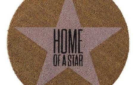 Bloomingville Kulatá rohožka Home of a star, růžová barva, hnědá barva, textil