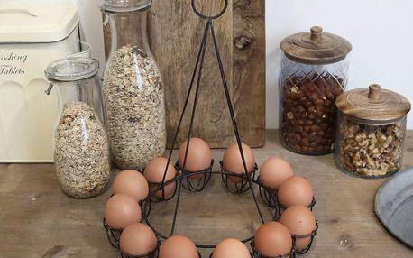 Chic Antique Kovový stojan na 12 vajec Antique Black, černá barva, kov
