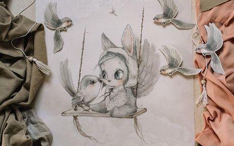 MRS. MIGHETTO Plakát Mini Bird Master 70 x 50 cm, multi barva, papír