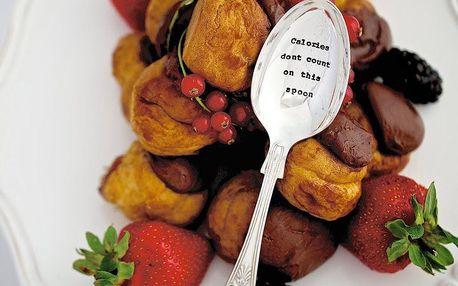 La de da! Living Postříbřená dezertní lžíce Calories Don't Count, stříbrná barva, kov