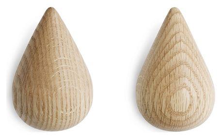 normann COPENHAGEN Dřevěné háčky Large Drop - set 2 ks, hnědá barva, dřevo