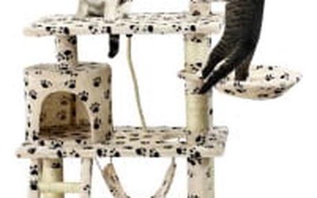 Škrabadlo pro kočky Hawaj 140 cm | tlapkový vzor