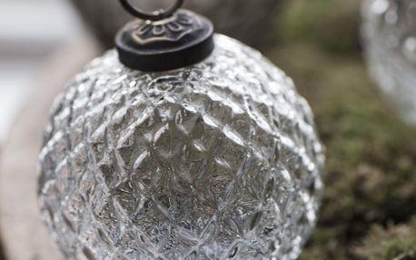 IB LAURSEN Vánoční baňka Harlequin Clear větší, čirá barva, sklo, kov