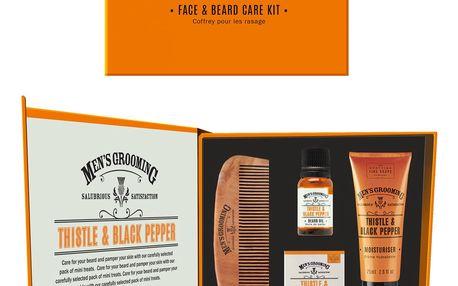 SCOTTISH FINE SOAPS Dárkový set pro péči o pleť a vousy Thistle & Black pepper, oranžová barva