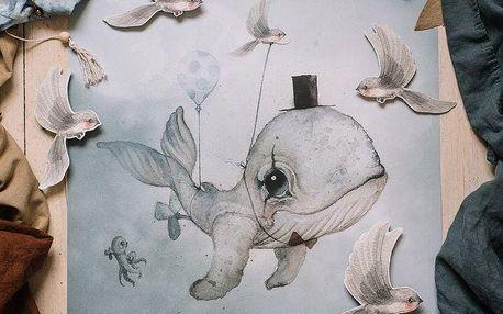 MRS. MIGHETTO Plakát Dear Whalie 50 x 70 cm, multi barva, papír