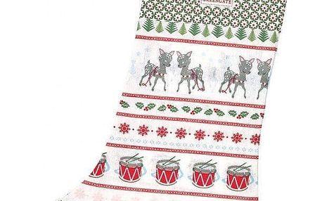 GREEN GATE Vánoční punčocha Bambi White, bílá barva, multi barva, textil