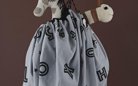 OYOY Podložka na hraní z organické bavlny The Alphabet, šedá barva, textil