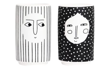 OYOY Solnička a pepřenka People, černá barva, bílá barva, keramika