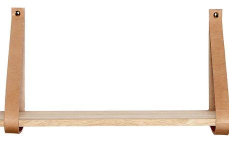 Hübsch Dřevěná polička s koženými pásky, hnědá barva, dřevo, kůže