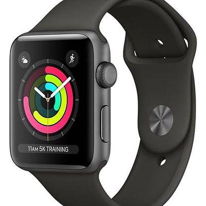 Apple Watch Series 3 GPS 42mm pouzdro z vesmírně šedého hliníku - šedý sportovní řemínek (MR362CN/A)
