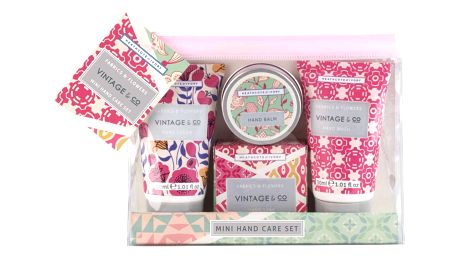 HEATHCOTE & IVORY Mini cestovní sada s péčí o ruce Fabrics & Flowers, růžová barva, zelená barva, multi barva, plast