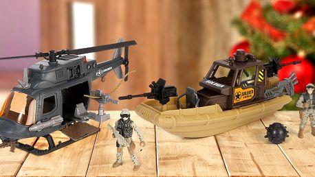 Figurka vojáka i v setu s autem, skútrem i člunem