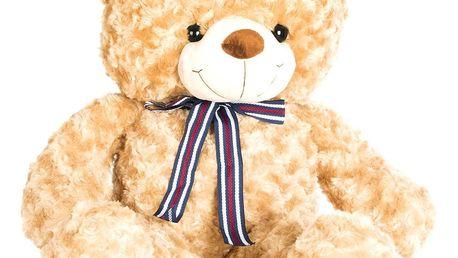 Velký medvěd Teddy hnědý a bílý 65 cm