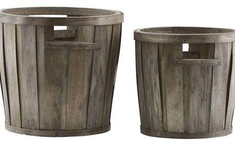 meraki Dřevěný kyblík Pinewood Menší, hnědá barva, přírodní barva, dřevo