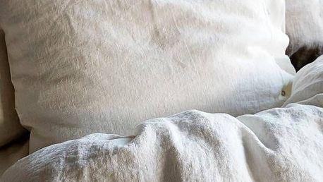Lovely Linen Přírodní lněné povlečení Off white, bílá barva, textil