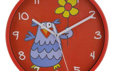Nástěnné hodiny Owl červená, 23 cm