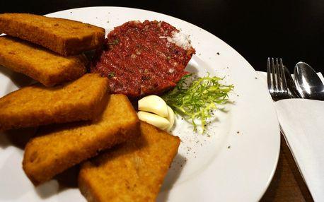 Namíchaný tatarský biftek a topinky pro jednoho