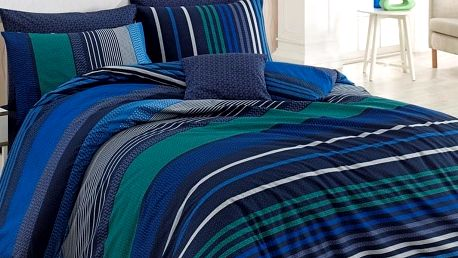 BedTex Bavlněné povlečení Marley modrá, 140 x 200 cm, 70 x 90 cm