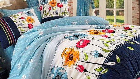 BedTex Bavlněné povlečení Amanda modrá, 220 x 200 cm, 2 ks 70 x 90 cm