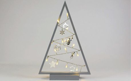 Nexos 57416 Světelná dekorace šedá - Vánoce - 15 LED teple bílá