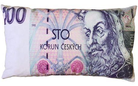 JAHU Polštářek Bankovka 100 Kč, 35 x 60 cm