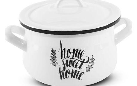 Orion Smaltovaný hrnec s poklicí Home sweet home, 2,3 l