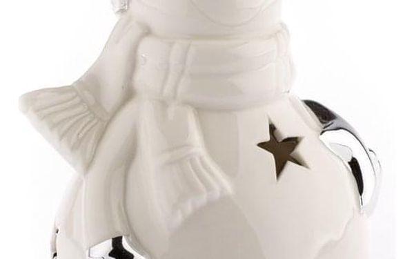 Vánoční keramický sněhulák Kulička, bílá