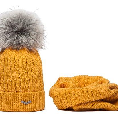 SET: Hořčicově žlutá čepice a nákrčník Volan