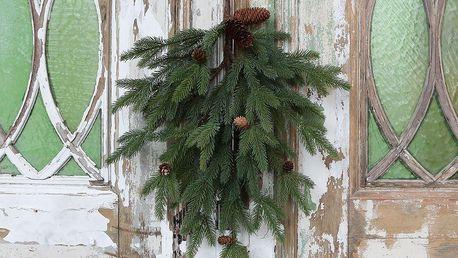Chic Antique Dekorativní větev s šiškami Pine, zelená barva, plast
