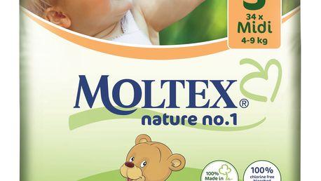 MOLTEX Nature no. 1 Midi, 34 ks (4 - 9 kg) – jednorázové pleny
