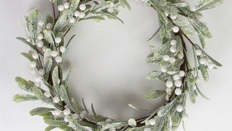 sass & belle Adventní věnec Silver Mistletoe, zelená barva, bílá barva, plast
