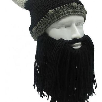 Pletená zimní čepice s vousy Viking