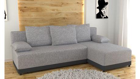 Rohová sedačka KNOX univerzální, šedá látka/černá ekokůže