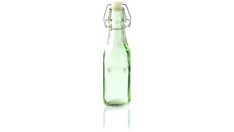KILNER Skleněná lahvička s klipem Green 250 ml, zelená barva, sklo