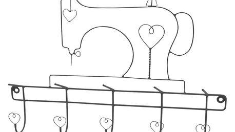 Krasilnikoff Věšák Šicí stroj - šedý, šedá barva, kov
