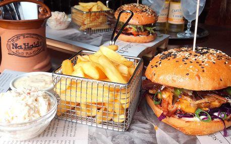 Burgerové menu s trhanými žebírky pro dva