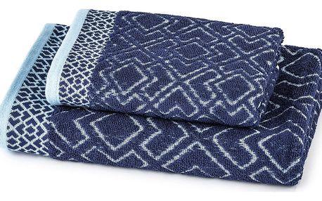 Jahu Osuška a ručník Geometrie modrá, sada 2 ks