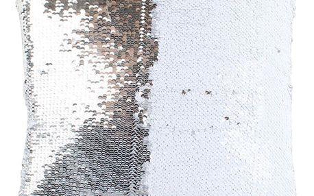 Dakls Polštářek s flitry stříbrná, 40 x 40 cm