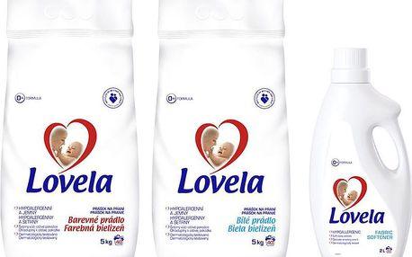 LOVELA Bílá prací prášek 5 kg (40 dávek) + LOVELA Color prací prášek 5 kg (40 dávek) + Lovela Aviváž