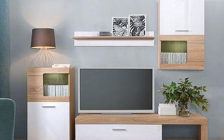 Black Red White Obývací stěna POLLA, dub sonoma/bílá lesk, (šxhxv): 180x39x249 cm