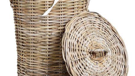 CÔTÉ TABLE Košík s víkem - Kuala Rond Větší, přírodní barva, dřevo