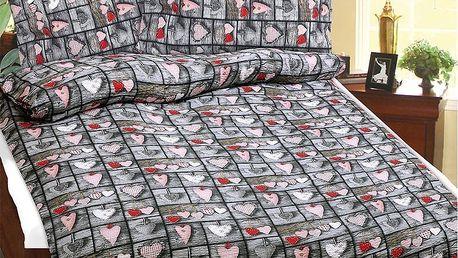 Bellatex Povlečení bavlna Srdce, 140 x 220 cm, 70 x 90 cm
