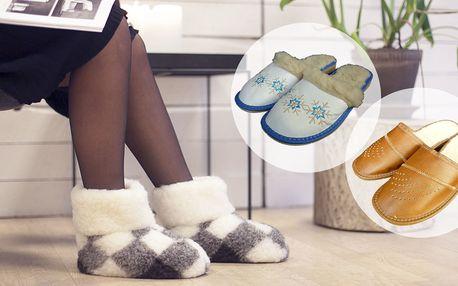 Dámské nebo pánské pantofle či bačkory z pravé ovčí vlny i kůže
