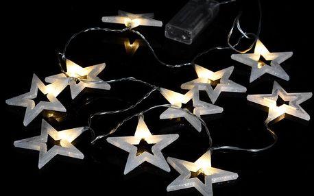Nexos 57423 Vánoční dekorativní osvětlení - třpytivé hvězdy - 20 LED teple bílé