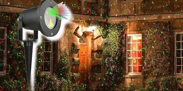 Vánoční laserový projektor - zelená, červená, 8 efektů s časovačem, 20x20 m - 180001854