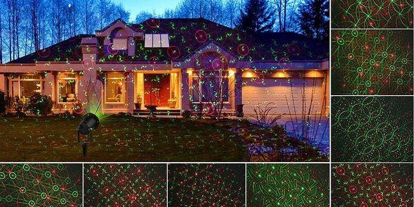 Vánoční laserový projektor - zelená, červená, 8 efektů s časovačem, 20x20 m - 180001855