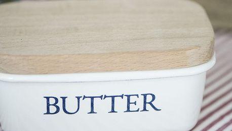 IB LAURSEN Smaltovaná máslenka s dřevěným víčkem White, bílá barva, dřevo, kov